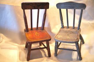 2 Miniature Painted Wood Chairs Turned Wood Great Detail Primitive Antique Decor photo