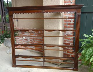 Large Antique English Oak Plate Wall Rack Shelf Georgian Carved 19th Century photo