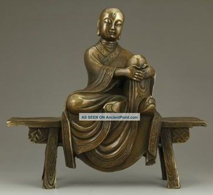 Chinese Bronze Statue - Tang Xuanzang On Stool Buddha photo