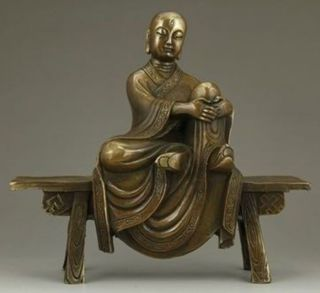 Chinese Bronze Statue - Tang Xuanzang On Stool photo