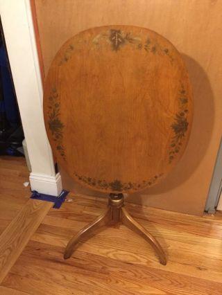 Hitchcock Table Stenciled Flip Tilt Top Oval Center Spindle Vintage - For Stuart photo