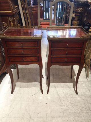 Pair French Louis Xv Inlaid Mahogany/walnut Night Stands Commodes photo