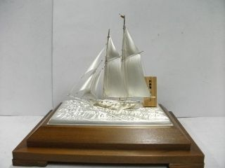 The Sailboat Of Silver Of The Most Wonderful Japan.  2masts.  A Japanese Antique. photo