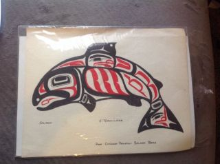 Alaska Tlingit Port Chilkoot Indian Potlatch Painting Native American Salmon photo