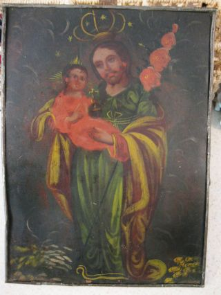 Antique,  Retablo On Tin With Image Of Saint Joseph W/ Christ Child photo