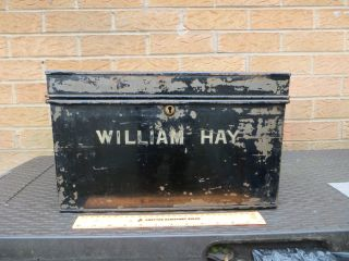 Vintage Industrial Black Metal Deed Box Sign Written Tin Chest Safe Store Tools photo