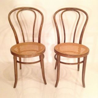 Vintage Thonet Bentwood Victorian Parlor Bistro Chairs Cane Seats photo