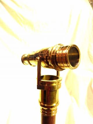 Brass Wood Walking Stick With Folding Telescope Nautical Maritime Walking Cane photo
