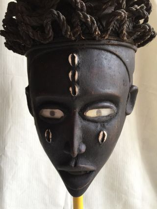 Yombe Witch Doctor Mask With Vulture Feathers Authentic Congo Palo Mayombe photo