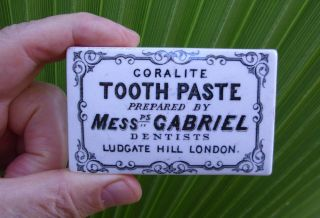 Antique Ca 1880 ' S Mess.  Gabriel,  London Dentist ' S Tooth Paste Jar Lid Pot Lid photo