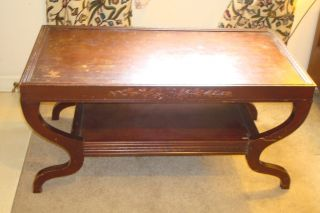 Vintage Wooden Carved Coffee Table 1940 ' S Cherry Color photo