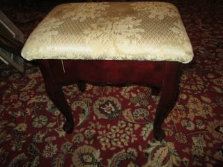 Vintage Mahogany Queen Anne Storage Bench Stool Fabric Stained Heavy photo