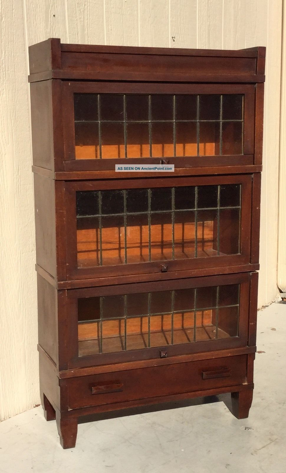 Antique Globe Wernike Mahogany Barrister Bookcase W Leaded