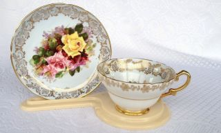 Stanley 180a/11 Three Roses Tea Cup & Saucer Floral - Gold Rim - Footed (1086) photo