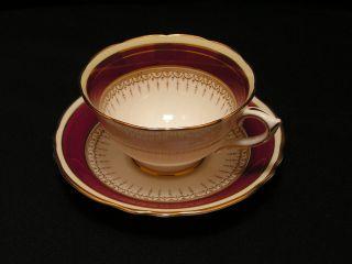 Vintage Paragon English Fine Bone China Athena Tea Cup & Saucer 2pc Red Band,  Vg photo