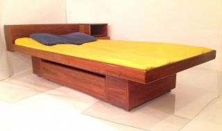 Vintage Danish Modern Platform Twin Bed W Floating Nightstand Mid Century Wegner photo