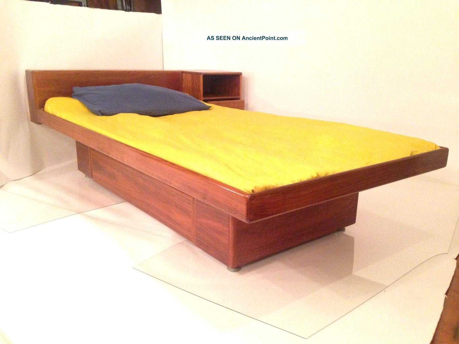 Vintage Danish Modern Platform Twin Bed W Floating ...