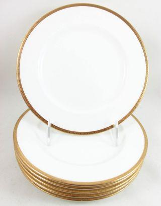 6 Tiffany &co Coalport China Z6082 Salad Side Plates Raised Gold Encrusted White photo