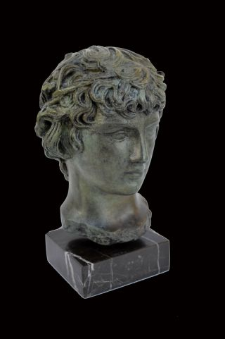 Antinous Bronze Sculpture Statue Bust Marble Based photo