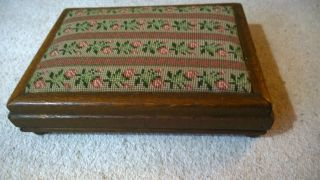 Antique Vintage Retro Wool Tapestry Wood Wooden Foot Stool Pink Roses Green Gift photo