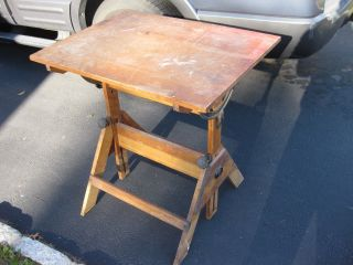 Small Antique 1940 ' S Anco Built Oak Drafting Table Solid Maple Cast Iron photo