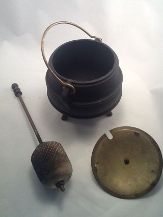 Vintage Antique Cast Iron And Brass Fire Starter Pot Pumice Stone photo