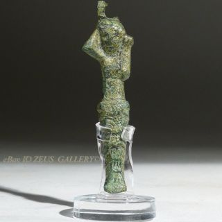 Ancient Greek Bronze Female Herm Goddess Figure Latch 6th Century Bc photo