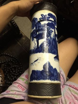Antique Chinese Blue And White Big Porcelain Pot Asian China photo