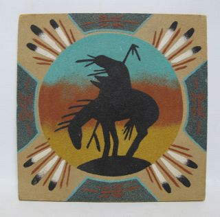 Vintage Native American Indian Silhouette Navajo Sand Painting Artist Signed Yqz photo