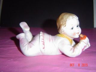 Vintage Porcelain Bisque Piano Baby 6inch Figurine Hand - Painted Germany? photo