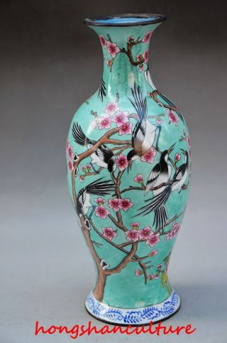 Delicate Decorated Chinese Cloisonne Handwork Painted Magpie Plum Vase photo