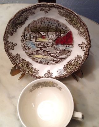 Antique Christmas Tea Cup And Saucer photo
