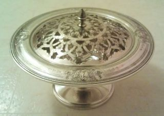Antique Evans Silver Plated Berry Compote With Reticulated Cover,  Marked X132 photo