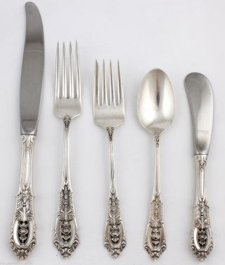 Wallace Rose Point Sterling Silver Place Setting Spoon Forks Knife No Monogram G photo