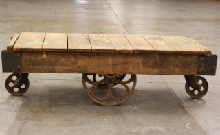 Antique Factory Wood Cart Coffee Table Railroad Industrial Iron Wheels Must Have photo