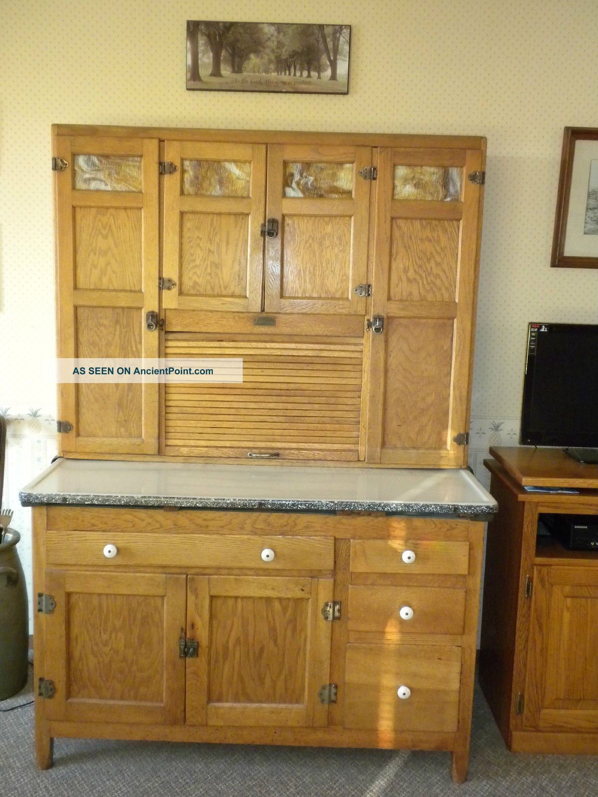 1930 S Oak Ers Hoosier Kitchen Cabinet With Flour Sifter Slag Glass Door
