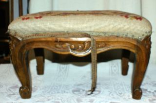 Vintage Wooden Rectangular Foot Stool With Floral Needle Point Designed Top photo