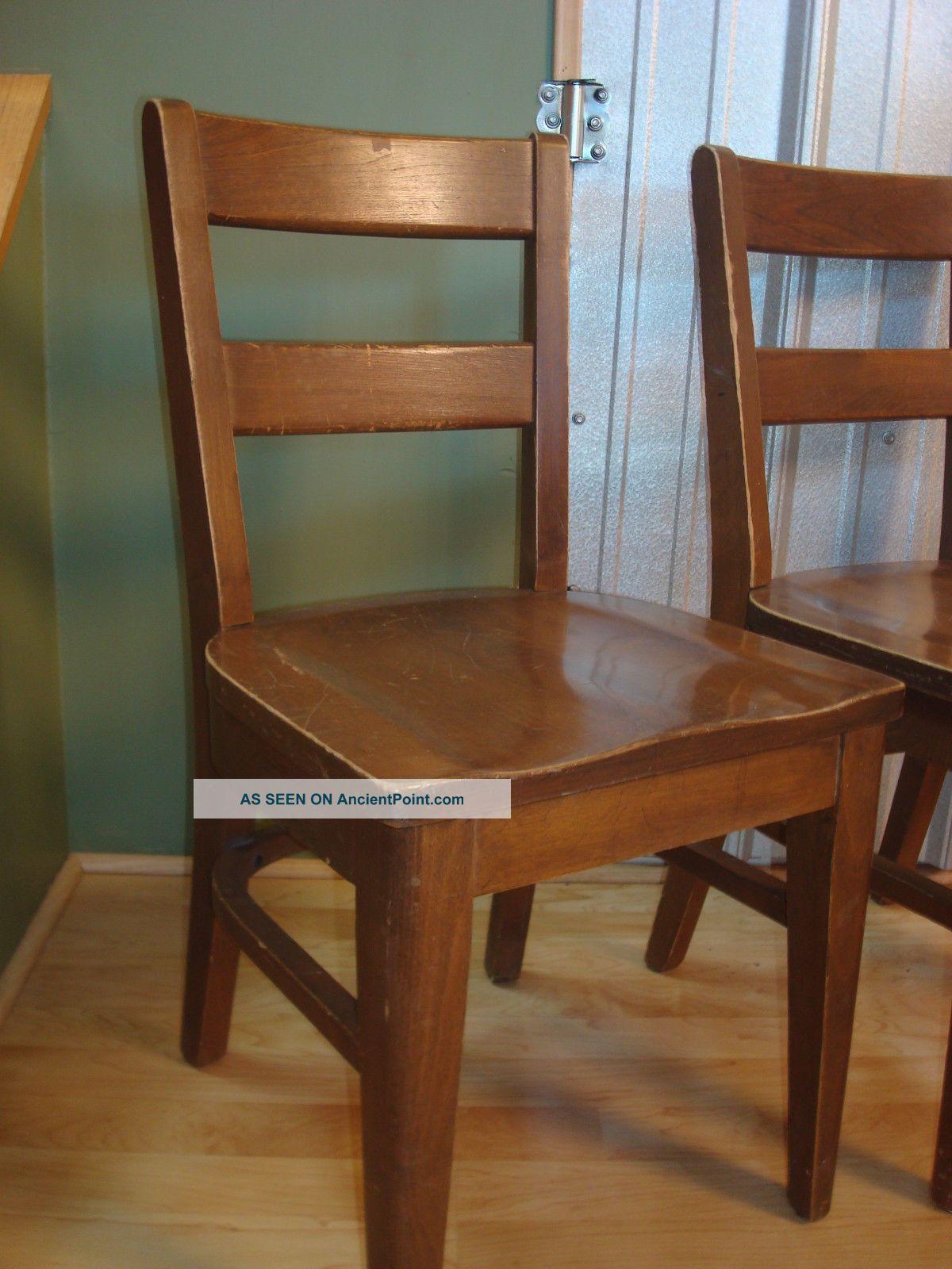 Vintage Childrens Wooden School Chairs Industrial