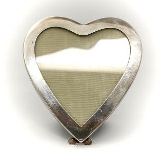 American Sterling Silver Heart Form Photo Frame C1950 W/ Green Velvet Easel Back photo