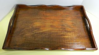 Vintage Handmade Walnut Stain Wood Serving Tray 14 X 20 Colonial Craftsma,  Ma photo