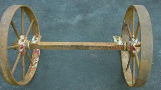 Vintage Cast Iron Wheels & Axle 17