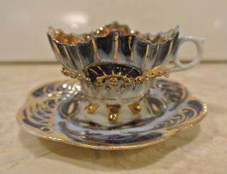 Vintage Gorgeous Demitasse Cup And Saucer Gold And Cobalt Blue photo