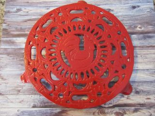 Rare Vintage Rosenthal Netter Red Cast Iron Trivet Rooster Circle 3 Footed photo