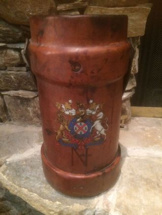 Antique Vintage English Leather Painted Cordite Carrier Powder Bucket Cane Stand photo