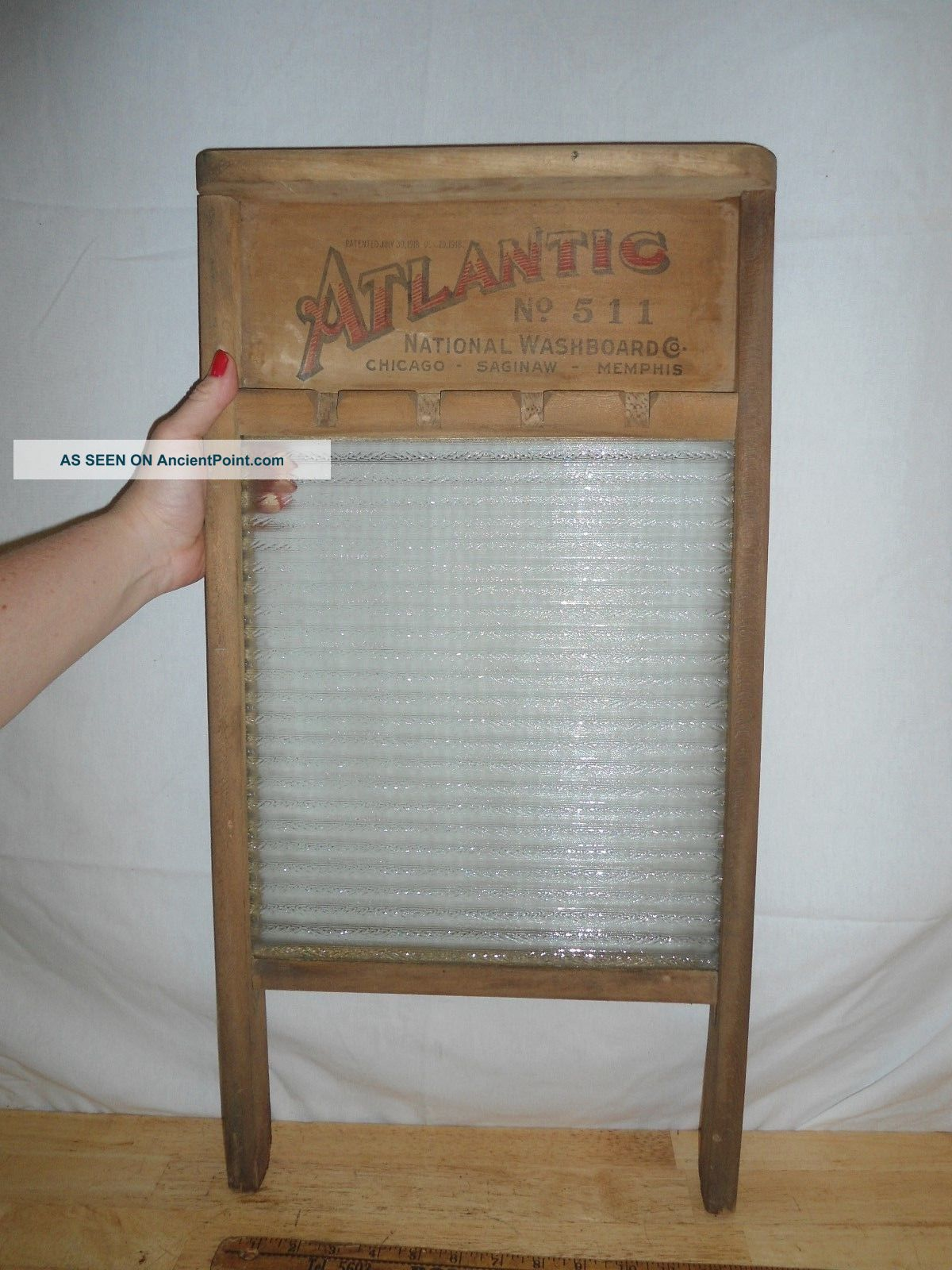 Vintage 1918 Washboard Atlantic 511 - Wood & Glass - - Usa Washing Machines photo