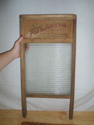 Vintage 1918 Washboard Atlantic 511 - Wood & Glass - - Usa photo
