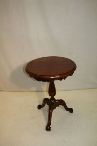 Italian Hand Made Rosewood Carved Round Side End Table photo