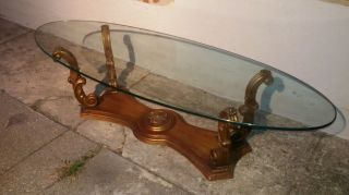 Vintage Weiman Heirloom Gold Gilt Glass Top Coffee Table photo