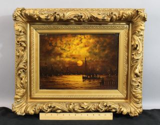 19thc Antique Charles S Dorion American Nocturnal Tonalist Harbor Oil Painting photo