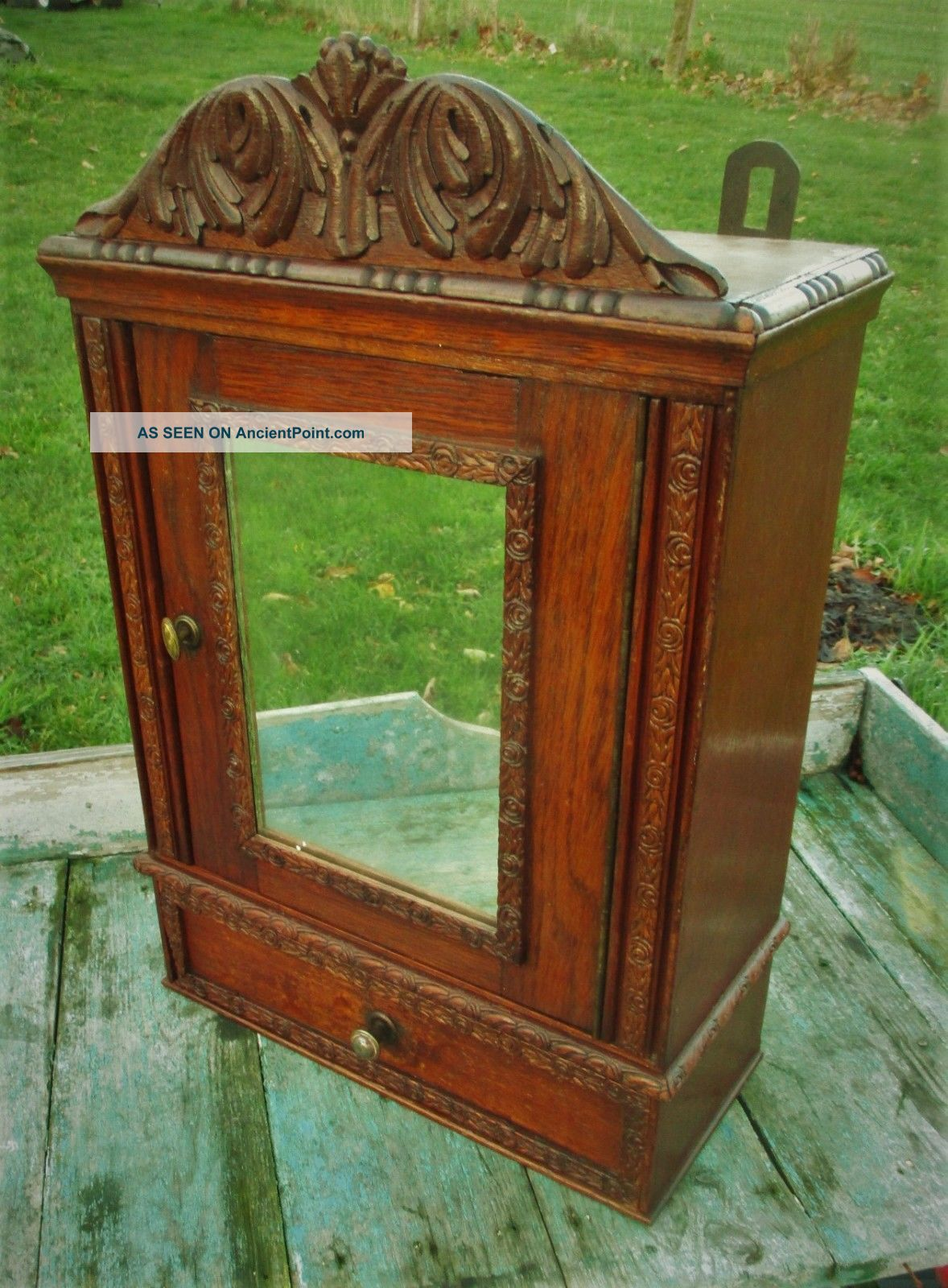 Antique French Carved Wood Medicine Bathroom Wall Cabinet Mirror Drawer